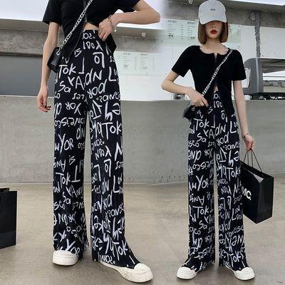 高街风阔腿裤子女新款夏季薄垂坠感直筒裤冰丝韩版宽松休闲小个子