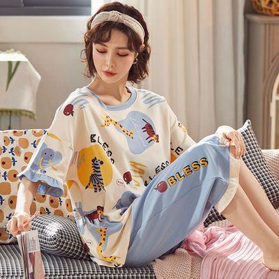29998/夏季套加大码睡衣女短袖七分裤薄款棉质胖妹妹学生新款家居服套装