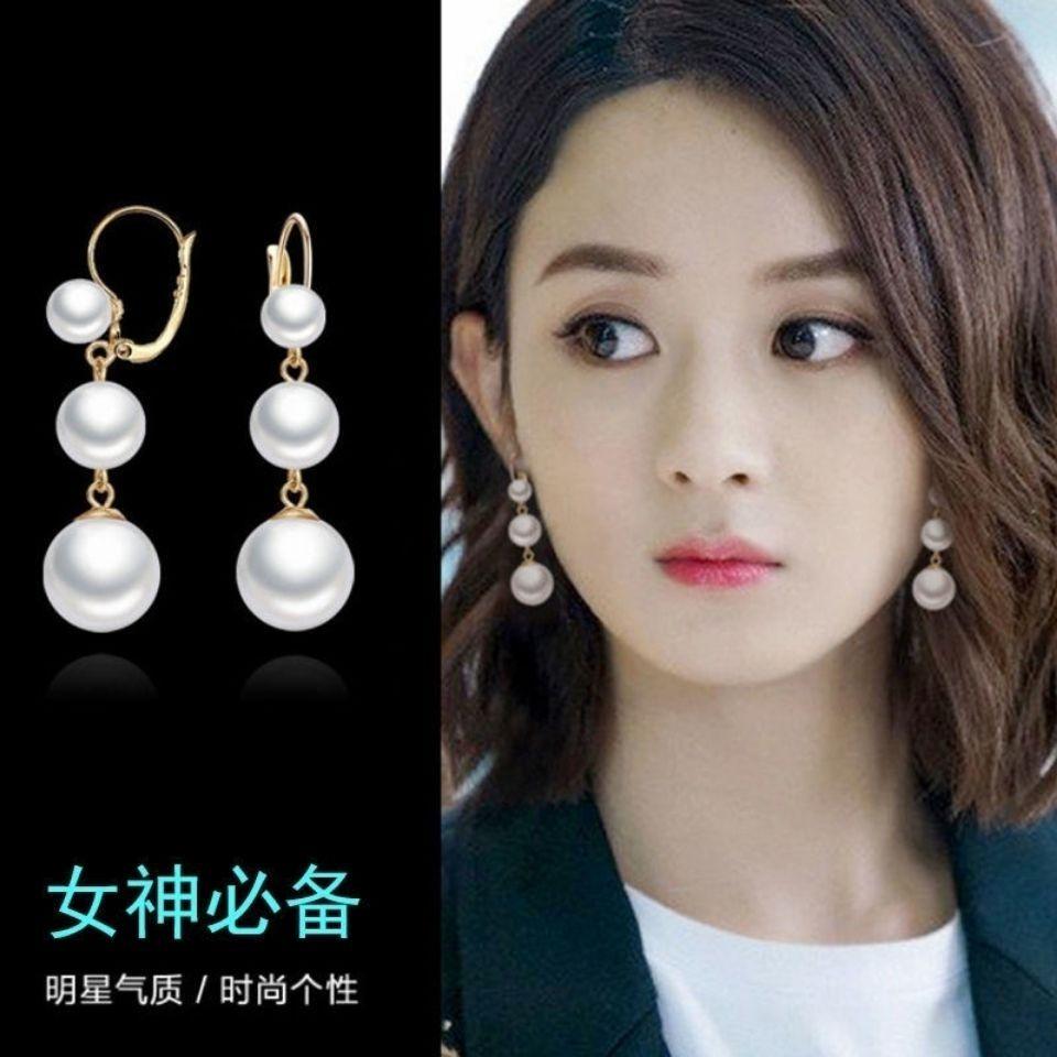 韩国东大门珍珠耳环女925银气质时尚耳钉个性夸张耳坠网红潮饰品