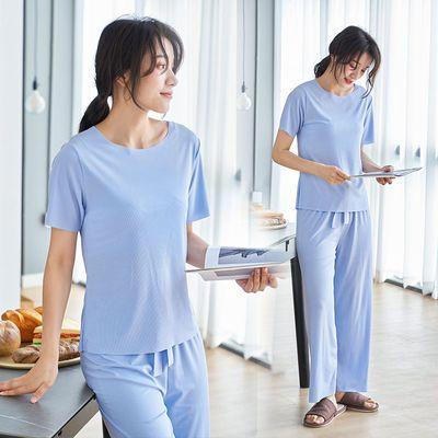 冰丝睡衣女夏季套装学生韩版时尚雪纺家居服夏天休闲潮流凉居家服