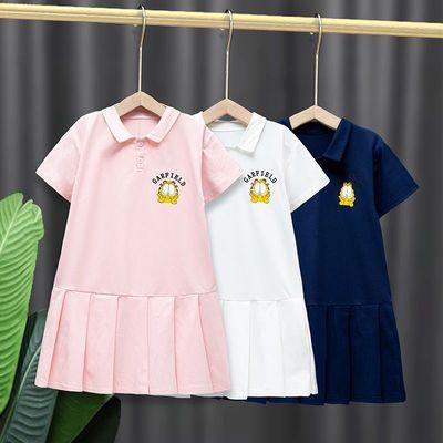 女童连衣裙2021新款加菲猫儿童洋气POLO裙公主裙宝宝潮流透气裙