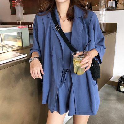 2021春夏新款韩版女神范时尚三件套小吊带西装外套高腰短裤套装女