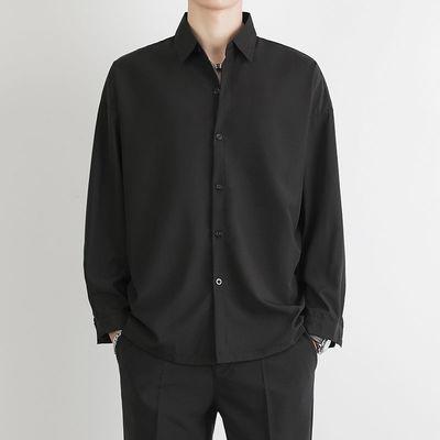 20299/高级禁欲系黑色衬衫长袖男韩版潮流春夏季薄款设计感休闲冰丝上衣