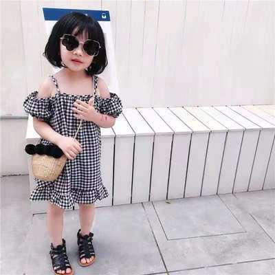 2021女童裙子新款韩版时尚女童短袖连衣裙女宝宝格子吊带露肩裙