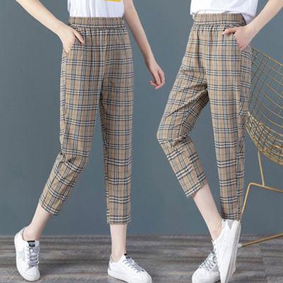 【高品质高弹】纯棉麻格子休闲裤子九分女夏季薄款哈伦裤新款宽松