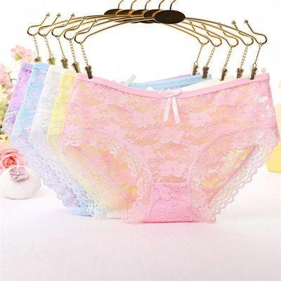 31142/【5条装】夏季女士透气性感内裤半透明提花蝴蝶结镂空蕾丝低腰