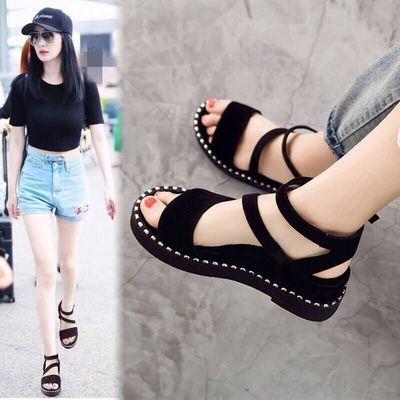 62542/厚底凉鞋女夏2021新款一字扣凉鞋女平底学生韩版松糕罗马坡跟凉鞋