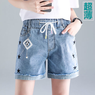 35470/夏季高腰牛仔短裤女2021新款宽松韩版松紧腰女士学生时尚夏天外穿