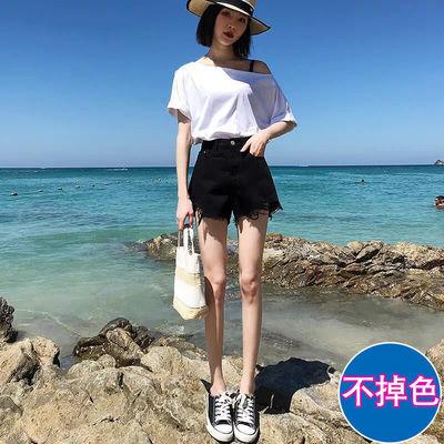 22048/高腰牛仔短裤女宽松韩版2021年新款夏季黑色显瘦破洞阔腿a字裤潮