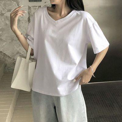 纯棉短袖女2021年夏新款V领宽松白色t恤女装百搭上衣cec超火ins潮