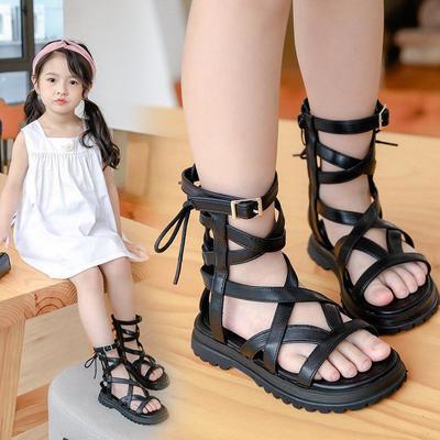 39769/女童凉鞋2021夏季新款时尚高筒真皮儿童罗马鞋韩版公主软底沙滩鞋
