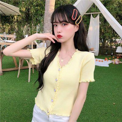 20998/v领冰丝针织开衫短袖女设计感薄款木耳边修身t恤小众甜辣上衣短款