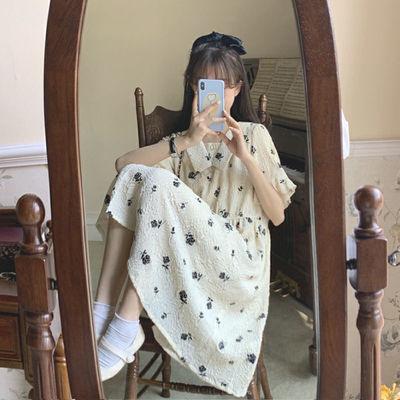 盐系连衣裙少女2021新款夏装初中高中学生宽松法式超仙甜美a字裙