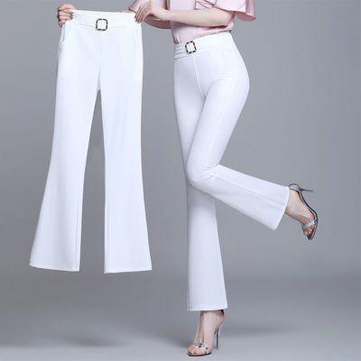 37424/2021夏季新款冰丝微喇叭裤女高腰九分修身显瘦百搭垂感有型长裤女