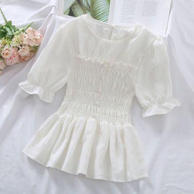 33712/雪纺衬衫女2021夏季新款法式小众设计修身显瘦洋气泡泡袖百搭上衣