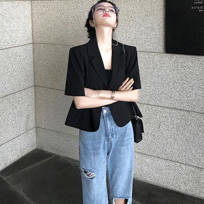 75114/大瓶定制 超A剪裁日常好穿黑色短袖小西装外套女薄款显瘦西服夏季