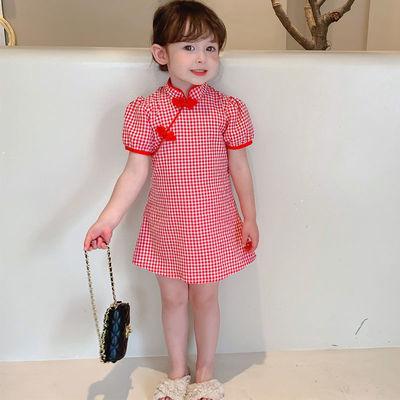 2021女童旗袍连衣裙夏装新款中小童2中国复古风汉服棉麻公主裙