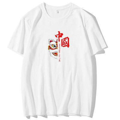 夏季纯棉短袖t恤男宽松大码潮流学生情侣半袖国潮体恤中国风男装