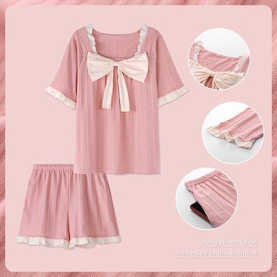 2021新款睡衣女士夏季短袖短裤宽松学生可爱蝴蝶结居家服两件套