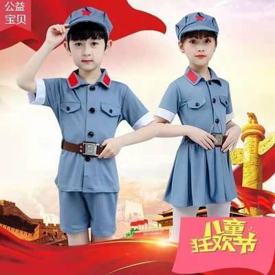 小红军儿童演出服女童幼儿园八路军合唱团红星闪闪表演服军装套装