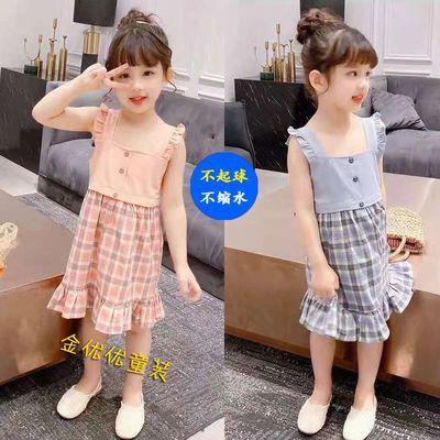女童夏天裙子2021新款格子吊带裙女中大童连衣裙洋气纯棉儿童裙子