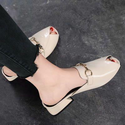 38839/凉拖鞋女2021新款时尚夏天配裙子拖鞋女款外穿带跟学生仙女风女鞋