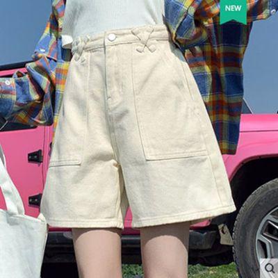 27640/夏季牛仔米白色短裤女高腰2021新款3分宽松薄款a字阔腿网红三分裤