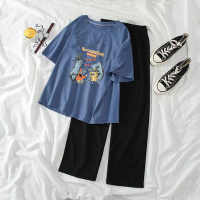 32578/单/套装2021新款夏季休闲学生套装女印花短袖T恤宽松阔腿裤两件套