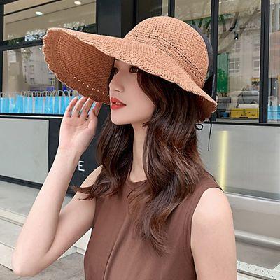 25887/防晒遮阳大沿太阳帽防紫外线卷卷可折叠空顶凉帽女夏透气时尚草帽