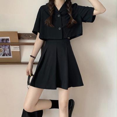 39317/ins衬衫套装女 夏季韩版新款时尚高腰短袖上衣短款黑色裙子两件套