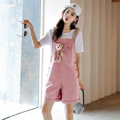33704/可爱小熊背带裤少女学生套装女2021夏季薄款韩版宽松短裤洋气减龄
