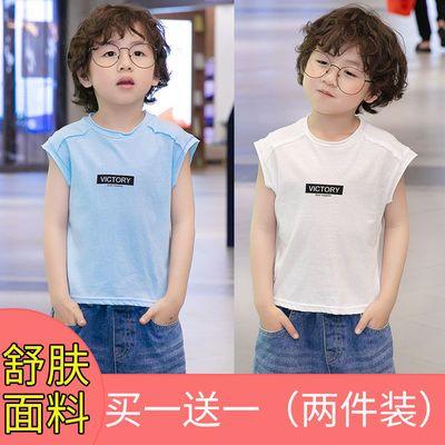 两件装男童纯棉背心夏装新款外穿儿童短袖T恤夏季宝宝无袖上衣潮