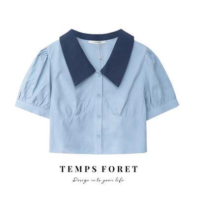 36183/夏季法式bm风2021新短款小众露脐泡泡袖polo领衬衫女学生百搭显瘦