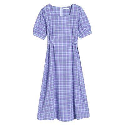 35762/夏季2021新款法式复古裙气质海边度假中长款裙子收腰格子连衣裙女