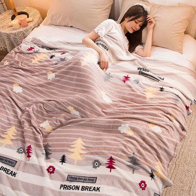 珊瑚绒毯子法兰绒毛毯盖毯加厚学生单人床单单件空调毛巾被子夏季