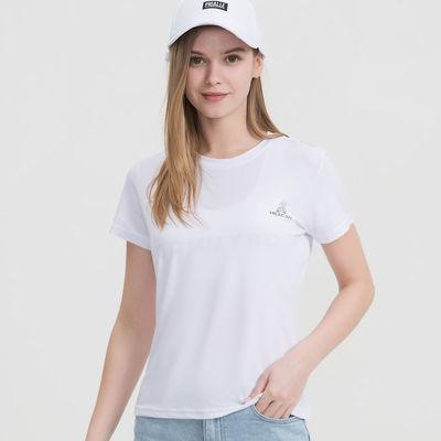 稻草人Mexican冰丝速干T恤夏季薄款圆领纯色弹力运动休闲情侣短袖