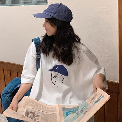 棉质盐系bf风t恤女短袖2021夏季新款宽松显瘦百搭学生上衣ins潮