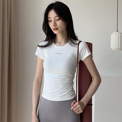 夏季高端运动短袖女弹力显瘦薄款紧身衣跑步训练速干健身衣瑜伽服