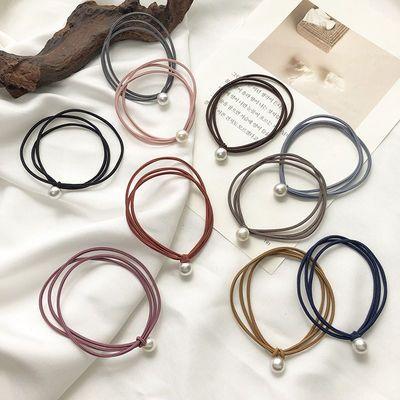 26471/韩国网红发绳ins简约气质三合一珍珠头绳皮筋少女头饰橡皮筋发圈