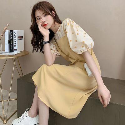 31249/2021时尚套装女韩版减龄宽松波点上衣+显瘦背带裙两件套连衣裙潮