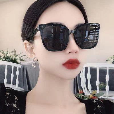 网红明星同款墨镜女潮韩国大框圆脸蹦迪蓝偏光遮阳防紫外线太阳镜