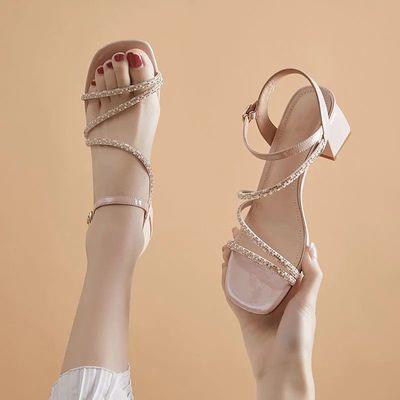32624/仙女风鞋子夏天上班高档女式凉鞋时尚粗跟水钻凉拖鞋久站不累鞋