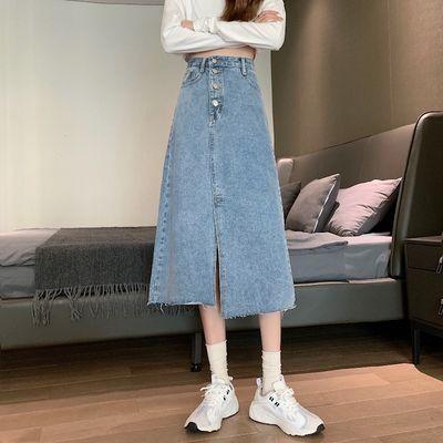 29688/夏季2021年新款小个子高腰牛仔半身裙女开叉长裙中长款裙子包