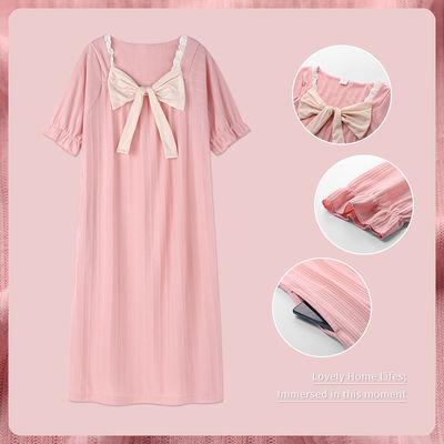 66505/2021年新款睡裙女夏季薄款短袖学生睡衣宽松蝴蝶结公主风连衣裙