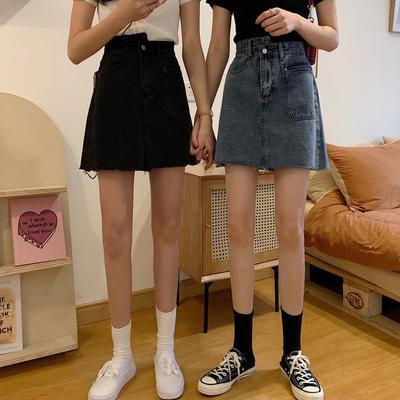 26588/2021年高腰牛仔半身裙夏季a字女不规则大码胖mm包臀裙时尚短裙子