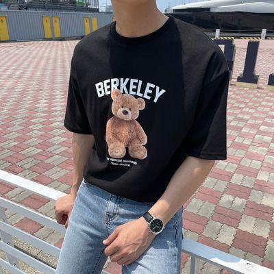 宽松版T恤男女同款短袖宽松百搭纯色印花纯棉新款夏季港风半袖