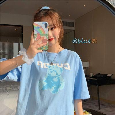 2021夏季韩版宽松小熊短袖女原宿风短袖学生上衣蓝色打底衫潮T恤