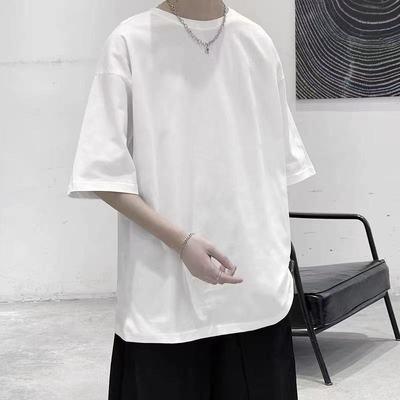 短袖男士潮牌港风夏季半袖打底衫百搭t恤宽松潮流体恤ins白色上衣
