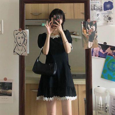 36805/今年夏季新款小黑裙显瘦裙子风法式泡泡袖甜辣连衣裙小个子轻熟风