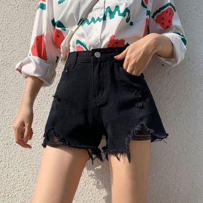 31079/2021年新款黑色破洞牛仔短裤女夏季薄款潮ins高腰宽松阔腿a字热裤